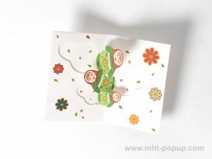 Carte de vœux Matriochkas modèle vert, intérieur vue de dessus
