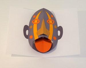 Atelier pop-up autour du masque version avec langue articulée
