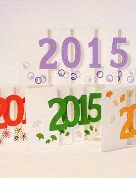 Carte de voeux 2015 MHT Pop up, papier découpé en accordéon, différents modèles