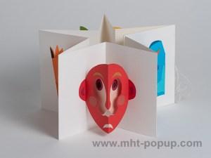 Prototype de livre-objet accordéon Masques, livre plié en étoile