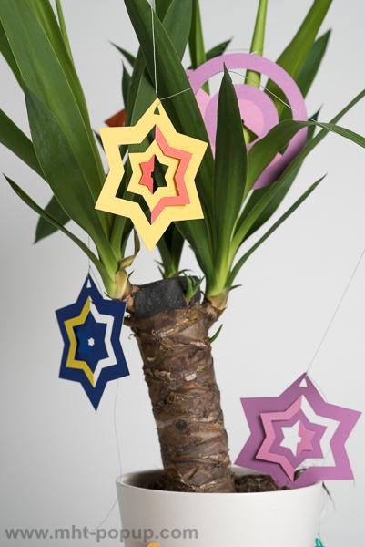 Guirlande, modèle Boules et étoiles bicolores, disposée autour d'un yucca, détail de boules en étoiles avec motifs découpés