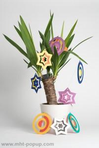 Guirlande, modèle Boules et étoiles bicolores, vue d'ensemble