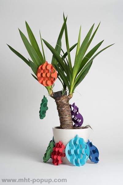 Guirlande, modèle Boules psychédéliques multicolores, disposée autour d'un yucca