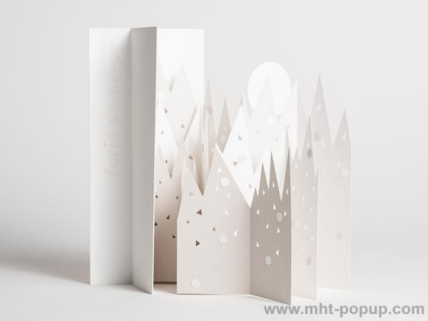 Livre d'artiste pages accordéon, Forêt de Neige, face