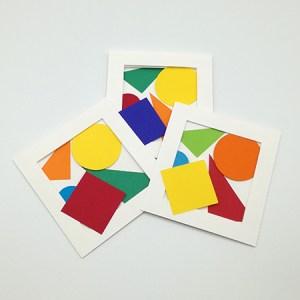 Cartes pop-up en triptyque accordéon, motifs géométriques multicolores, trois variantes de collage