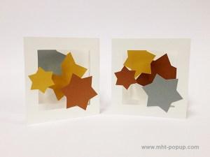 Cartes pop-up en triptyque accordéon, motifs étoiles or, argent et cuivre, deux variantes de collage