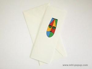 Carte pop-up Masque d'Afrique, modèle rouge-jaune, carte avec enveloppe