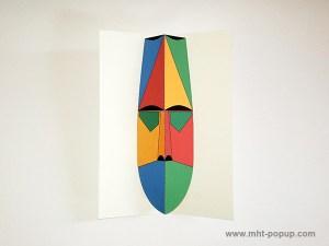 Carte pop-up Masque d'Afrique, modèle rouge-jaune, vue de dessus