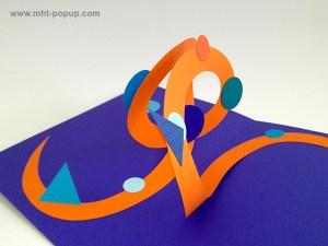 Carte pop-up Spirale motifs abstraits, bleu-violet-orange, détail de la spirale. Pièce unique signée