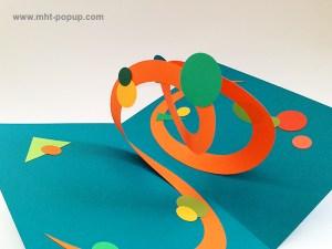 Carte pop-up Spirale motifs abstraits, riviera blue-orange, détail de la spirale. Pièce unique signée