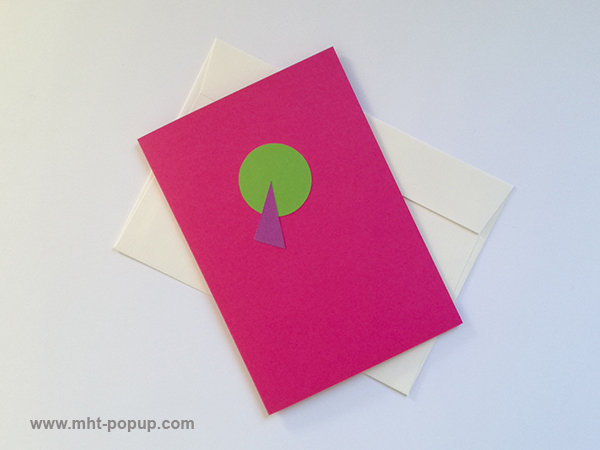 Carte pop-up Spirale motifs abstraits, rose-vert, repliée avec enveloppe. Pièce unique signée