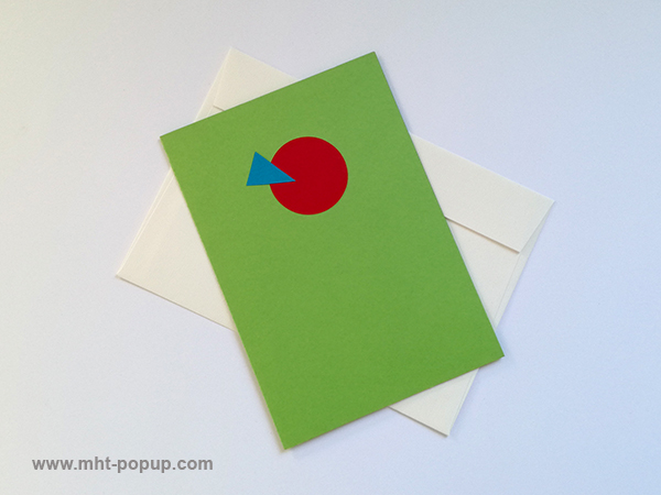 Carte pop-up Spirale motifs abstraits, vert-rouge, repliée avec enveloppe. Pièce unique signée