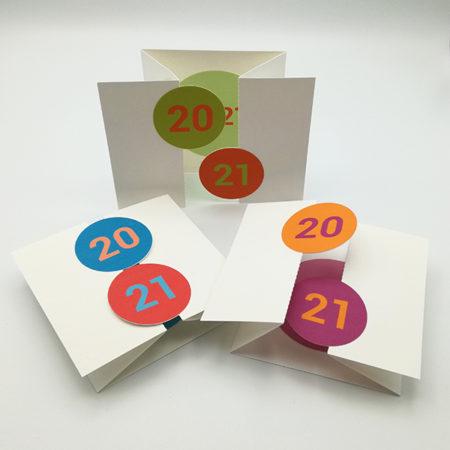 Cartes de vœux à volets 2021, vue d'ensemble avec les 3 variantes de couleurs