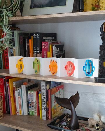 Livre Leporello Masques mis en scène par Léa Lalonde, agence Boujou bien !