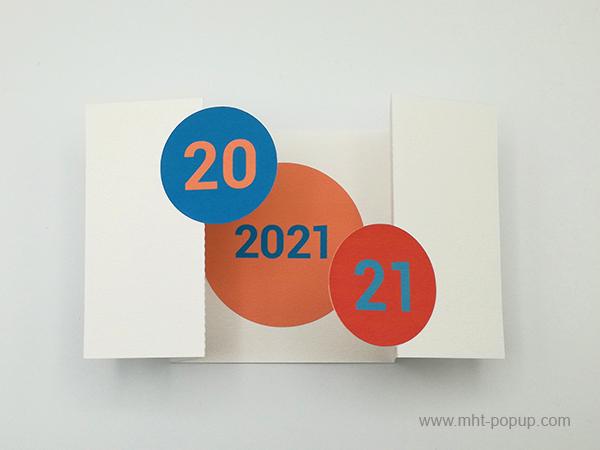 Carte de vœux à volets 2021, version rouge-bleu, carte ouverte avec motif central rouge clair