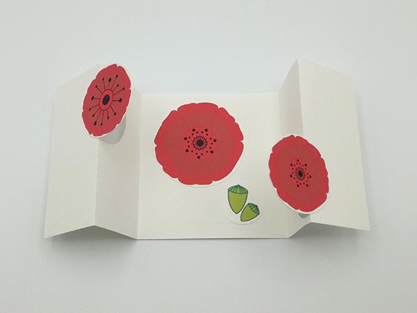Carte à volets, motifs de fleurs de coquelicot rouge, vue de dessus carte ouverte