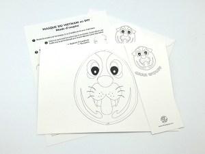 Carte pop-up Masques du Vietnam en DIY, Grrr Wouff, kit d'ensemble