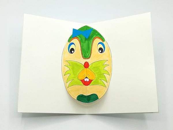Carte pop-up Masques du Vietnam en DIY, modèle Crocnut, carte coloriée vue de dessus