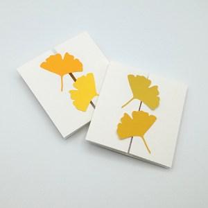 Carte à volets, motifs ginkgos en camaïeu jaune, vue d'ensemble de 2 variantes