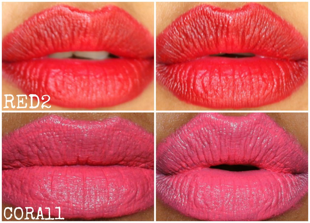 Maybelline ColorSensational Lip Gradation Red2,Coral1 swatches