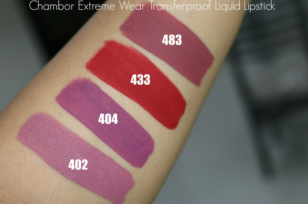 chambor extreme wear transferproof liquid lipstick swatches