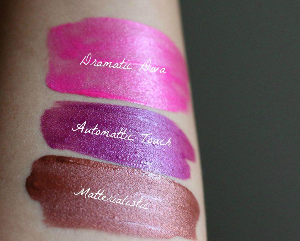 Swatches Of Milani Amore Matte Metallic Lip Crème - 05 Dramatic Diva, 02 Matterialistic, 07 Automattic Touch