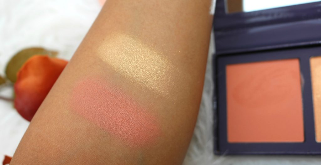 Swatches of ColourPop The Knockout Pressed Powder Face Duo - Excuse my French Like To Watch