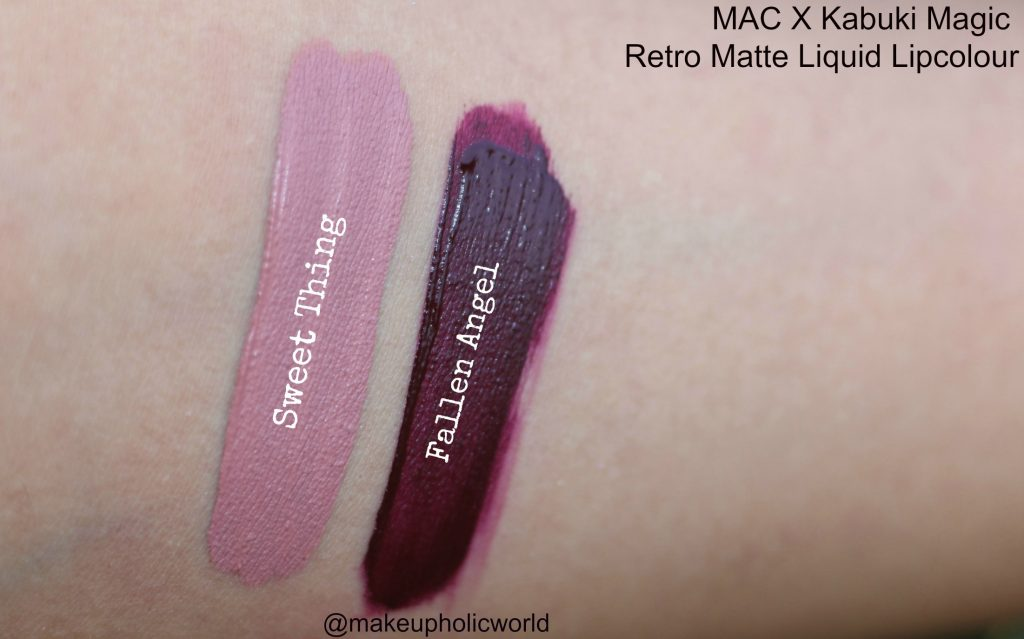 mac x kabuki magic retro matte liquid lipcolours, mac kabuki magic retro matte liquid lipcolours fallen angel and sweet thing review, mac liquid lipsticks, mac fallen angel retro matte lipstick, mac sweet thing retro matte lipstick