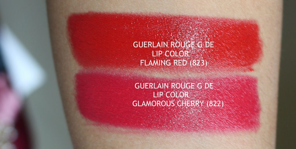 guerlain glamorous cherry (822) rouge g de lip color,guerlain flaming red (823) rouge g de lip color,guerlain rouge g de lip color,guerlain rouge g de exceptional lip color, guerlain holiday 2017 lipsticks, guerlain jewel lipsticks, guerlain glamorous cherry review,guerlain flaming red review,rouge g flaming red,rouge g glamorous cherry, guerlain glamorous cherry lipstick swatches,guerlain flaming red lipstick swatches,guerlain luxury makeup,guerlain limited edition rouge g lipstick, buy guerlain limited edition rouge g lipstick, guerlain limited edition rouge g lipstick swatches and review, guerlain makeup, guerlain makeup review, best guerlain makeup