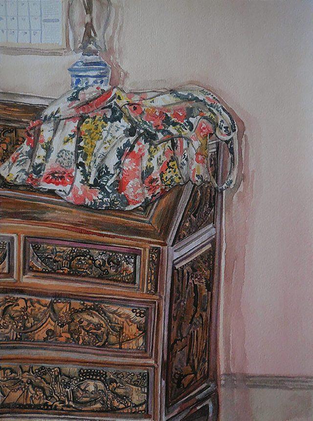 Watercolor Dress on Desk