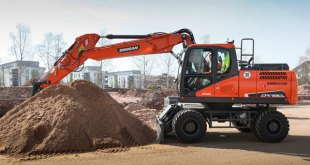 New Doosan DX190W-5 high performance Wheeled Excavator can be supplied with new wide axles option