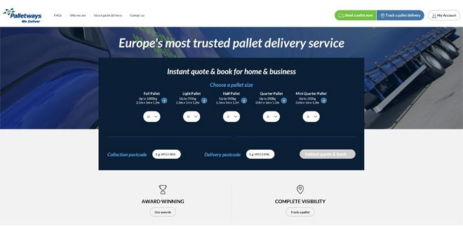 Palletways launches online pallet booking service in UK