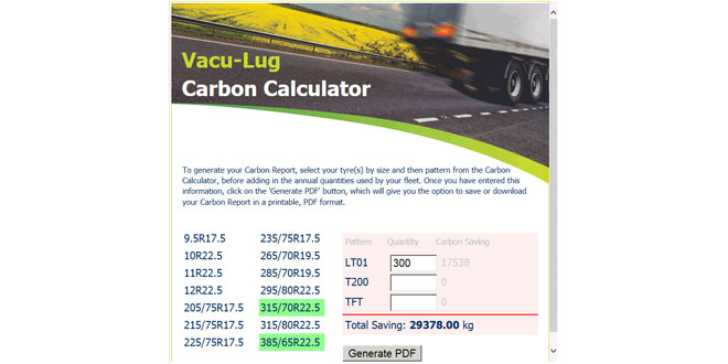 The new Vacu-Lug Carbon Calculator tool generates real personalised data for fleets