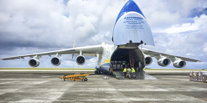 ANTONOV 225 FLIGHT BRINGS HUGE PAYLOAD OF EMERGENCY AID TO GUAM HURRICANE VICTIMS