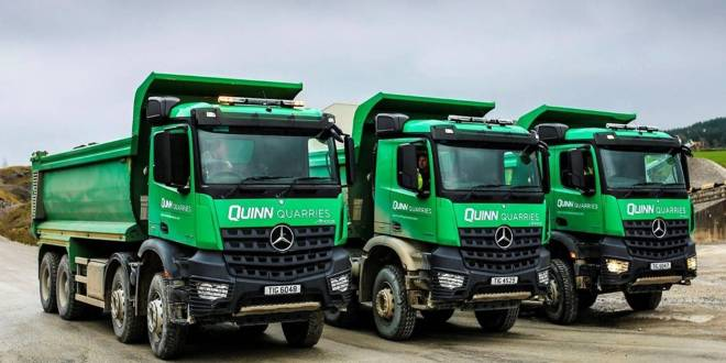 News from MBNI Truck & Van - Quinn Building Products chooses 14 efficient off-road tippers from Mercedes-Benz