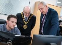 The mayor of Rochdale  Mr W Sheeran opening of new KP Industries premisis