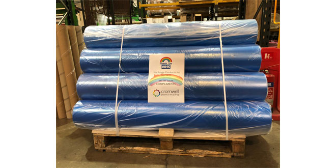 Cromwell Plastics Recycling donates half a tonne of plastic film to community fundraiser for NHS