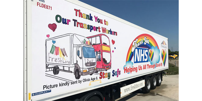 Local artist aged 6 pays tribute to key workers as FreshLinc trailer fleet grows again