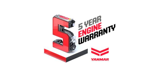 Industry-leading five-year engine warranty from Yanmar