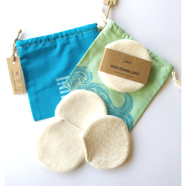 Pack 3 Discos Desmaquillantes Grandes + Bolsa Algodón Orgánico