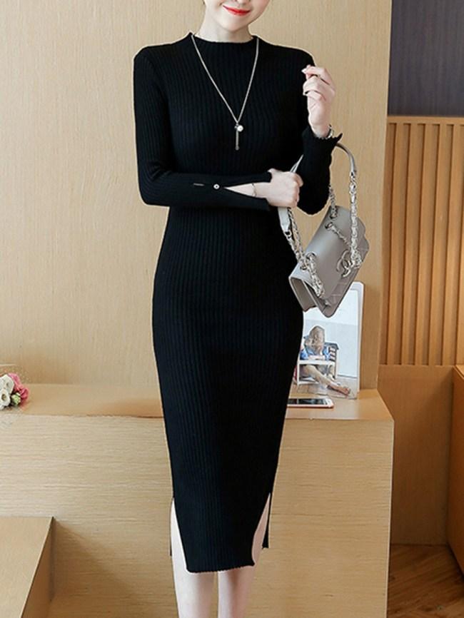 Fashionmia Band Collar Plain Side Slit Midi Knitted Dress