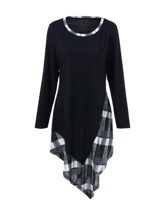 Fashionmia Asymmetric Hem Plaid Round Neck Plus Size Shift Dress