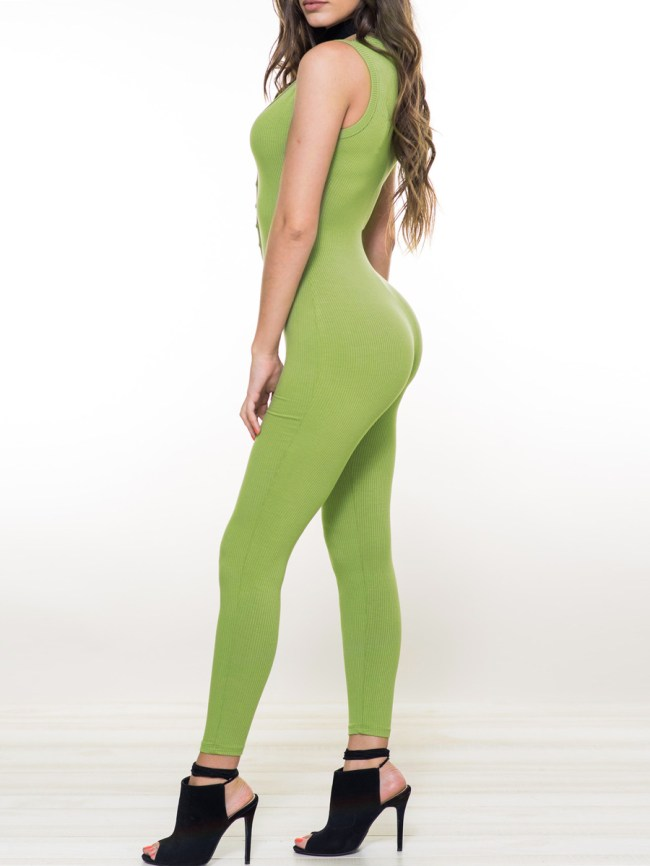 Fashionmia Sexy Green Single Breasted Single Button Plain Slim-Leg High-Rise Jumpsuits