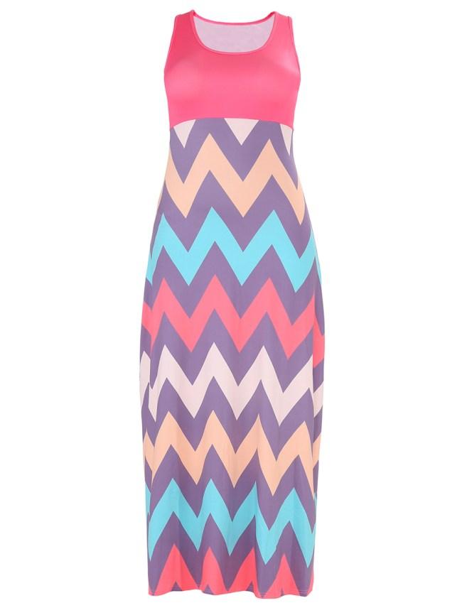 Fashionmia Round Neck Zigzag Striped Plus Size Maxi Dress