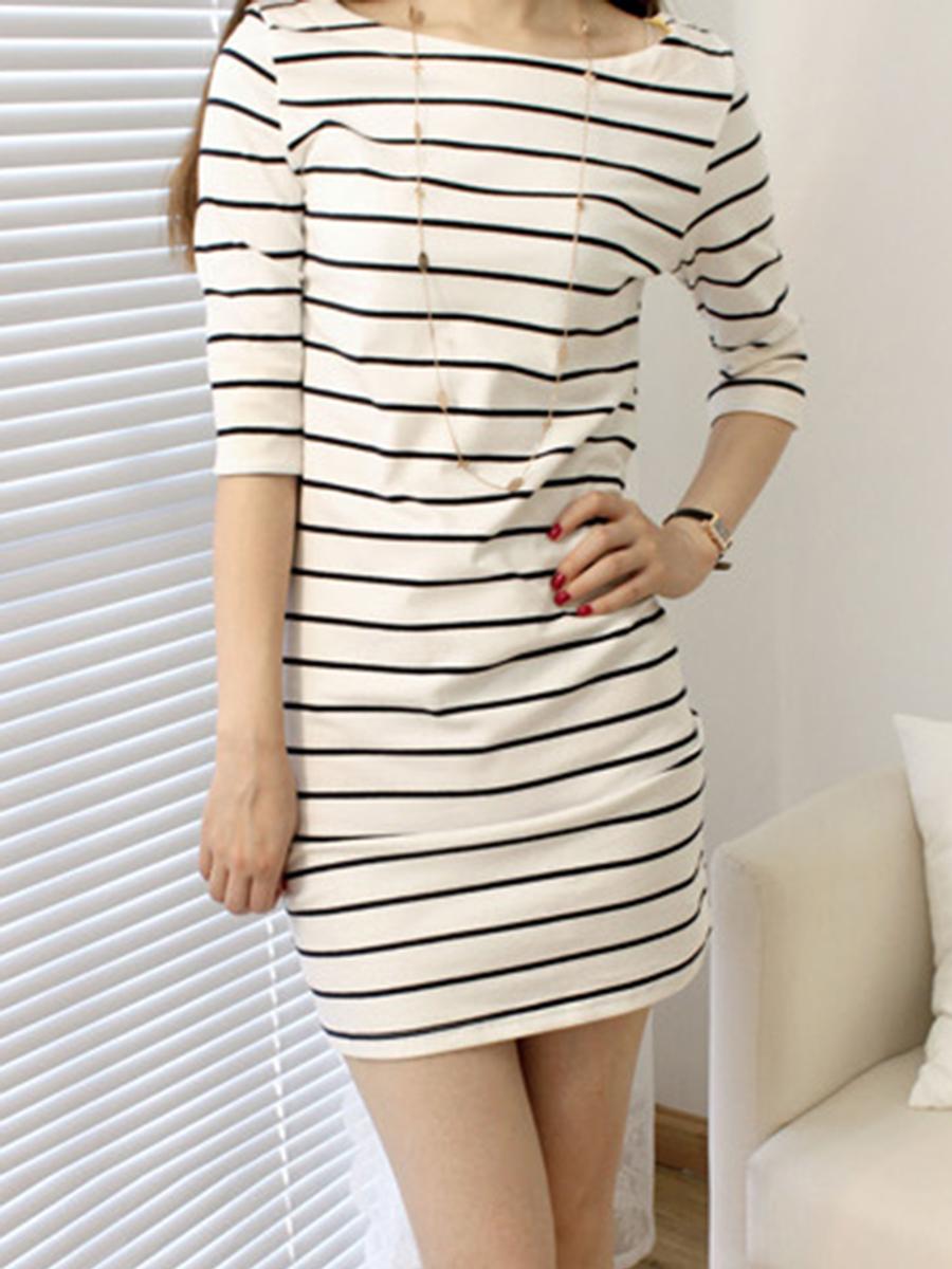 Boat Neck  Striped  Blend Bodycon Dress