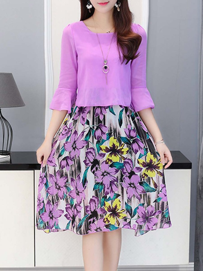 Image Result For Bell Sleeve Floral Printed Chiffon Skater Dress
