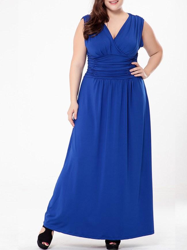 Fashionmia Ruched Empire Deep V-Neck Plain Plus Size Maxi Dress
