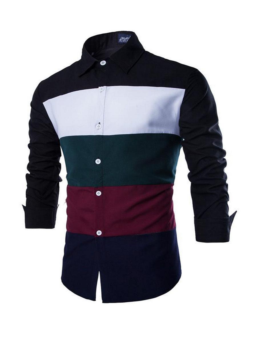 Turn Down Collar Color Block Long Sleeve Long Sleeves