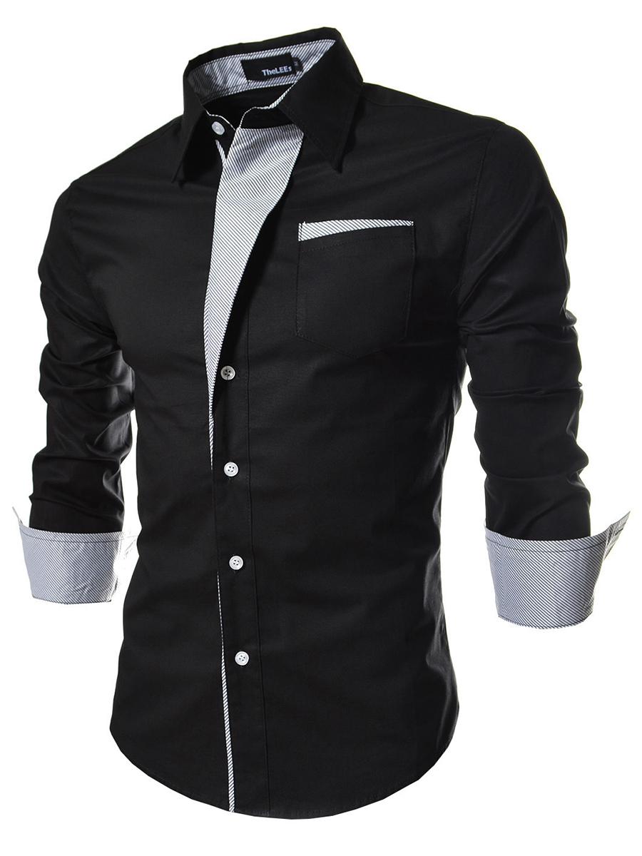 Turn Down Collar Striped Cuffed Sleeve Long Sleeve Long Sleeves