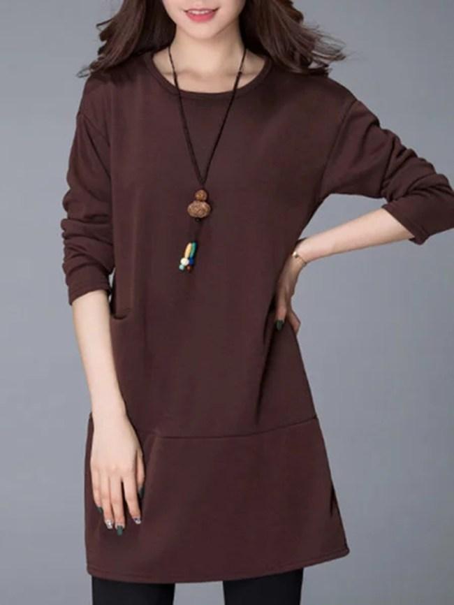 Fashionmia Round Neck Plain Fleece Lined Pocket Shift Dress
